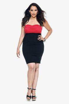 Red Polka Dot Strapless Dress | Dresses