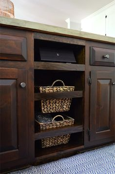 Young House Love | Adding DIYed Pull Out Basket Drawers In The Kitchen | http://www.younghouselove.com