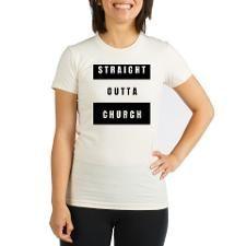 Outta church Organic Women's Fitted T-Shirt