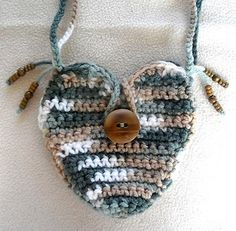 Heart Shaped Crocheted Mini Purse with Bamboo Button