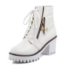 AllhqFashion Women's Solid High Heels Round Closed Toe PU Lace-up Boots -- Click image to review more details.