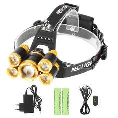 Super Ahorros de Luz Frontal Súper Brillante 8000 Lumens Rechargable Impermeable 1-CREE T6 mas 4