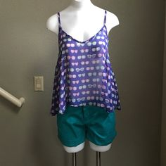 """Paper Crane sunglass tank top Adorable blue tank top with sunglasses design. 100% polyester. Length in front 23"""" length in back 25"""" includes straps. Paper Crane Tops Tank Tops"""