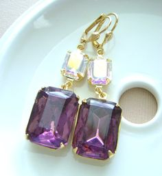 Amethyst Purple Earrings and White Crystal by RachellesJewelryBox