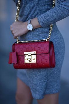 Jessica Ricks Outfit details: Banana Republic Dress | GUESS booties | Gucci Bag | CLUSE Watch via Nordstrom