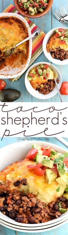 Taco Shepherd's Pie ~ a comfort food classic gets a Tex-Mex twist with taco-seasoned, salsa-spiced ground beef, studded with black beans and topped with cheesy green chile mashed potatoes! | FiveHeartHome.com