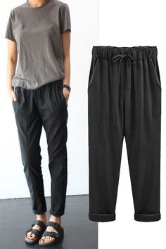 Womens elastic high waist baggy loose casual harem nine pants pant plus size Informations About Womens elastische hohe Taille Baggy lose beiläufige Harem Nine Pants Hose Plus Size Pin You can easily u Loose Pants Outfit, Linen Pants Outfit, Women's Pants, Yoga Pants, Casual Pants, Jogger Pants Style, Adidas Pants, Ankle Pants, Casual Outfits
