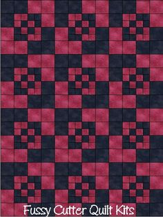 Amish Boxes Prim Patchwork Pattern Fuschia Pink Black Fabric Fast Easy Make Pre-Cut Quilt Blocks Top Kit Quilting Squares Pieces Material