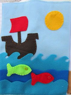 A Lively Hope: Quiet Book Pages for Boys - could do it with the waves that can be pulled down to reveal fish Diy Quiet Books, Felt Quiet Books, Baby Crafts, Felt Crafts, Crochet Hot Pads, Baby Sewing Projects, Felt Projects, Sensory Book, Quiet Book Patterns