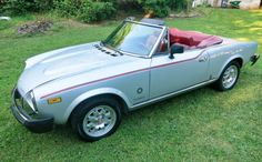 Classic Sports Cars, Classic Cars, Silver Metallic Paint, Turbo System, Fiat 124 Spider, Best Barns, Run Today, Red Interiors, Barn Finds