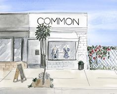 commonlosangeles Happy Saturday! How cute is this watercolor of our storefront? We LOVE it @cestriley, thank you #atwatervillage #storefront #watercolor