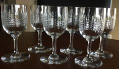 Absolutely perfect condition Baccarat Nancy cut crystal wine glasses. They were purchased in France and have the Baccarat logo on the base. Each glass... #tall #discontinued #pattern #perfect #glasses #baccarat #nancy #wine #vintage