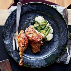 Roast Guinea Hens with Prosciutto and Endives   Food & Wine
