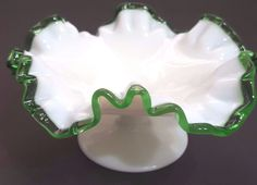 Fenton Emerald Crest Footed Ruffle Compote Bowl Milk Glass Vintage 7 In Diameter