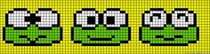 Keroppi perler bead pattern Cross Stitch Bookmarks, Cross Stitch Art, Cross Stitch Patterns, Loom Animals, Beaded Animals, String Bracelet Patterns, Friendship Bracelet Patterns, Bead Loom Patterns, Beading Patterns
