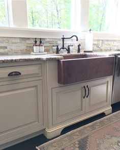 Modern Farmhouse Kitchen With Copper Sink And Vintage Rug | Farmhouse  Redefined (@farmhouseredefined)