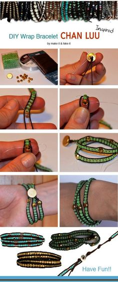 bracelet with leather cording and glass and metallic beads