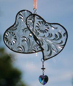 Stained Glass Heart Doublet Clear Floral Suncatcher w/ Swarovski Crystal Heart