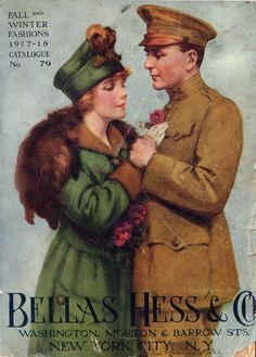 A WWI couple, parting...just for now  <3    ~ Bellas Hess & Co. catalogue, ca. 1917-18.