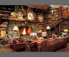 I love Ralph Lauren's rustic mountain home in Colorado.  Such beautiful Western and Native American influences.  Can I please just move into Double R Ranch?