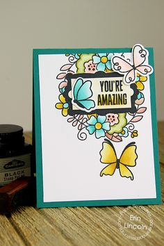 Card by PS DT Erin Lincoln using PS Fancy Frames, Blossoming Buds, Flap Happy, Butterflies 1 & 3 dies