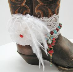 White Stretch Lace Bridal Boot Bracelet, Country Bride Boot Bracelet, Turquoise and Red Beaded Boot Bling, Country Chic Boot Jewelry by Louisefashionjewelry on Etsy
