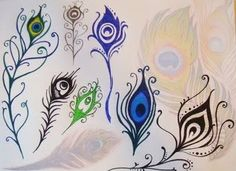 We'll show you some pretty feather tattoo designs in the mail. Peacock Feather Tattoo, Feather Tattoo Design, Feather Art, Feather Tattoos, Peacock Feathers, Tatoos, Henna Tattoos, Peacock Painting, Peacock Art