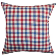 Bold and modern, this throw pillow adds a punch of colors to your interiors. This accent pillow features a classic plaid pattern in shades of red, blue and white. This square pillow suits well in various settings, including contemporary and traditional. Toss this decor pillow on top of your sofa, couch or seat to bring dimension and contrast. Made of 100% high-quality cotton material. $55.00  #pillows #plaid #tosspillow