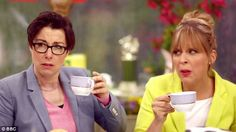 In a commercial for BBC, presenters Mel and Sue react to a colleague's antics as they sip cups of #tea while watching the 2014 World Cup.
