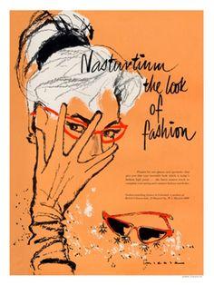 Nasturtium gloves and glasses, 1950s