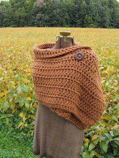 Ginger Wrap Extra Large Crochet Button Wrap Shawl Autumn Accessories