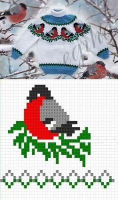 Baby Knitting Patterns, Baby Cardigan Knitting Pattern, Christmas Knitting Patterns, Knitting For Kids, Knitting Projects, Hand Knitting, Crochet Patterns, Tiny Cross Stitch, Cross Stitch Charts