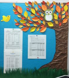 Fall bulletin board - crinkle brown butcher paper to simulate tree bark!
