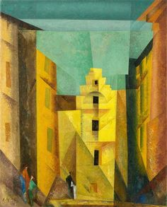 """Artwork by Lyonel Feininger, Gelbe Gasse (Also """"Gasse I, """"Yellow Lane), Made of oil on canvas"""