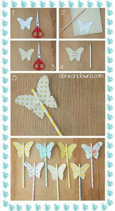 DIY Butterfly straws and flowers Clones N Clowns by Aimee WoodClones N Clowns by Aimee Wood Butterfly Birthday Party, Garden Birthday, 1st Birthday Parties, Diy And Crafts, Crafts For Kids, Paper Crafts, Wood Crafts, Garden Party Decorations, Party Garden