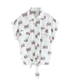 Cat Print Lapel Collar Short Sleeves White Chiffon Blouse