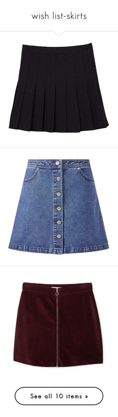 """""""wish list-skirts"""" by fashionable-queen ❤ liked on Polyvore featuring skirts, mini skirts, bottoms, clothes - skirts, pleated skirt, high waisted pleated skirt, high-waist skirt, high rise skirts, high waisted mini skirt and mid wash denim"""