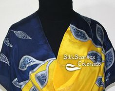Silk Scarf Handpainted. Yellow, Navy Blue Hand Painted Shawl. Handmade Silk Scarf LOVE TREE.  Large 14x72. Anniversary Gift. Gift-Wrapped