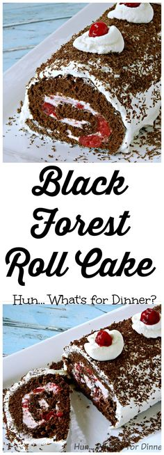 : Black Forest Roll Cake~ Celebrating 7 yrs of… Swiss Roll Cakes, Swiss Cake, Jelly Roll Cakes, Jelly Rolls, Köstliche Desserts, Delicious Desserts, Dessert Recipes, Yummy Food, Cake Roll Recipes