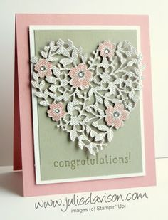 Sneak Peek Week: Stampin Up Bloomin' Hearts Wedding Card  2016 occasions catalog