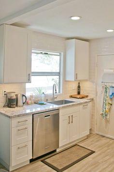 white cabinets; grey granite countertops