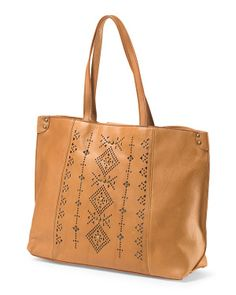 LUCKY BRAND Leather Embellished Tote $99.99 - T.J. Maxx