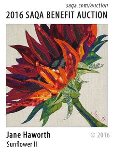 SAQA Benefit Auction - I adore the vivid colors of this quilt.  While orange isn't a favorite color, I'd totally overlook it for something as stunning as this!