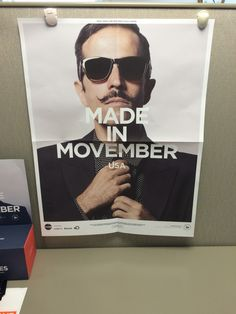 We put our #Movember posters up early!!! #GrowIt!