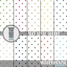 #Watercolor #polkadots #digital #paperpack in #Pantone 2017 colors #digitaldownload