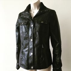 New Look Black New Look leather-like Jacket with silver detail in very good condition. Any Questions Please Ask before Purchase No Paypal || No Trades || Posh Rules Only 🎉🎉Host Pick 9-22-14🎉🎉 Shipping:  Bundle and Save on Shipping Items are shipped within 24-48 hours of payment  Please Check Out my other listings for the best in brand new and gently used clothing, shoes and accessories. Happy Poshing!!! New Look Jackets & Coats