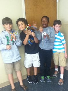 Social skills summer camp kids showing off their Lego creations!