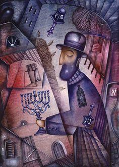 Hanukkah: Paintings Cubism Paper Watercolor Biblical Eugene Ivanov