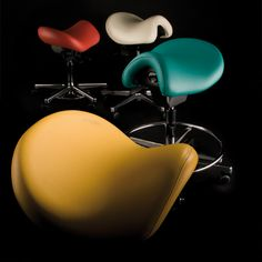 Bambach Saddles - not only do these popular seats look great but they offer support and help eliminate back pain, too. Big Building, Medical Design, Saddles, Pediatrics, Back Pain, Color Splash, Dental, Alternative, Environment