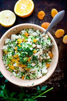 Cauliflower Couscous Salad With Apricots and Cashews.